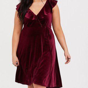 BRAND NEW! Torrid Velvet Wrap Dress